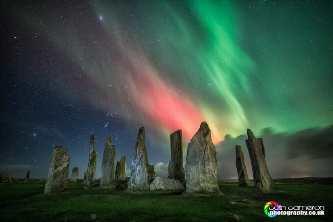 Northern lights over the Callanish Stones