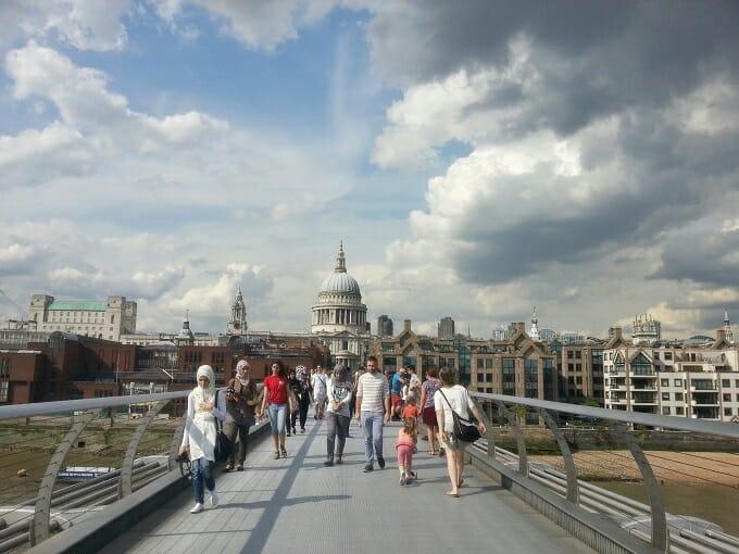 Crossing the Millenium Bridge over the Thames