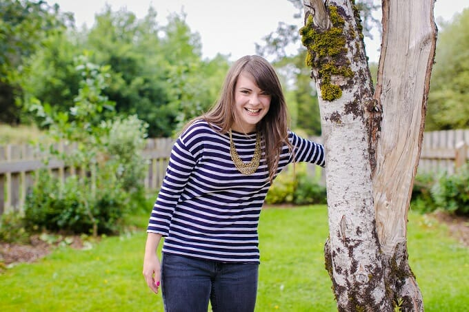 Katie laughing in the Lews Castle Grounds