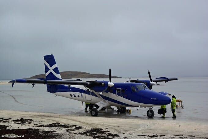 Plane on the runway at Barra airport