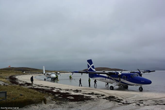 Two planes at Barra Airport