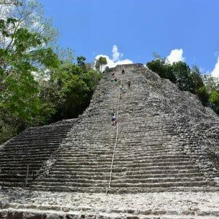 Climbing an Ancient Mayan Temple in Coba, Mexico