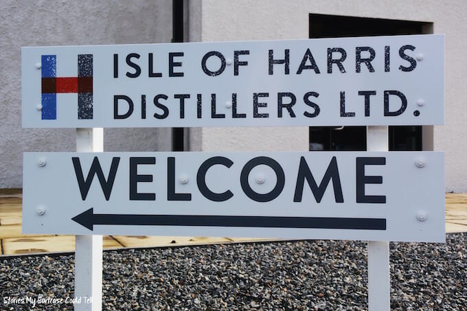 Harris Distillery Welcome Sign