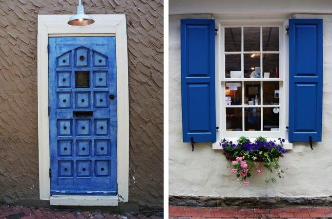 Blue doorway Chestnut Hill