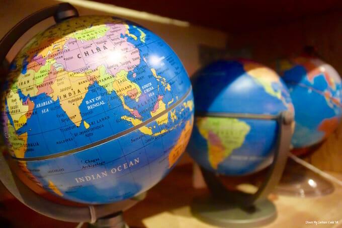 Globes on a shelf