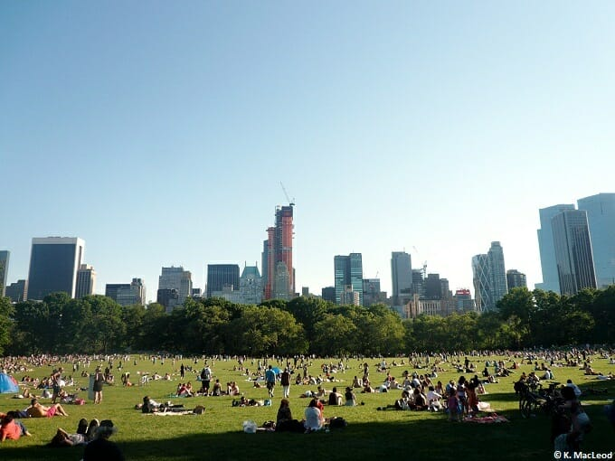 People relaxing in sheep meadow, Central Park