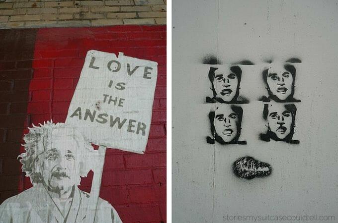 Prince William and Einstein street art