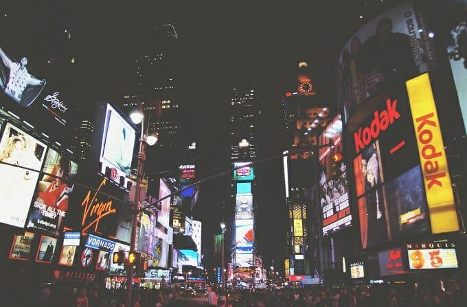 Times Square at night - Unsplash