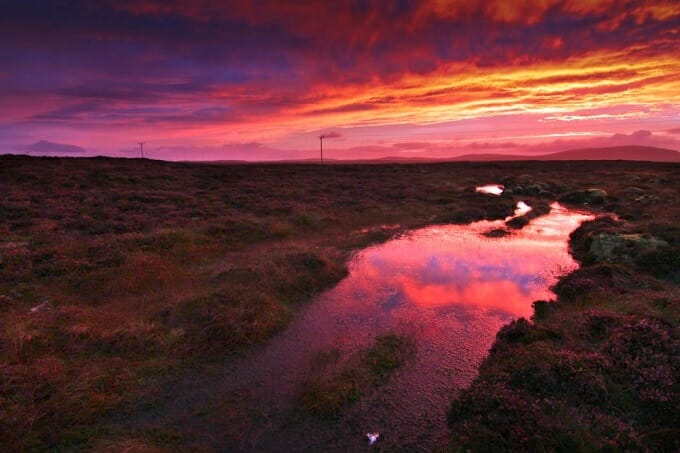 Sunset reflections on Lewis moor