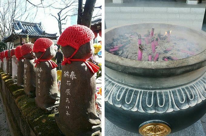 Incense and statues at Zojoji Temple, Tokyo