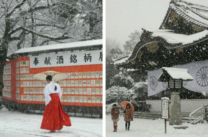 Japanese temples in the snow