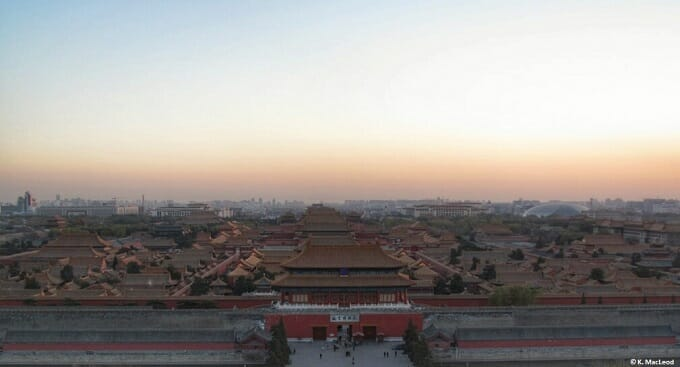 A view of the Forbidden City from Jingshang Park in Beijing