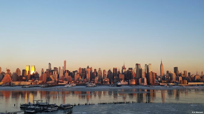 NYC skyline overlooking the frozen Hudson River