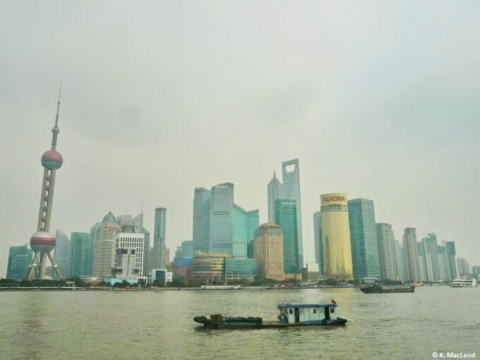 Pudong skyline seen from the Bund on a smoggy day