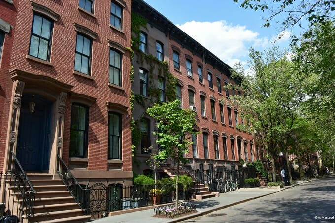 Brownstone townhouses in New York's West Village
