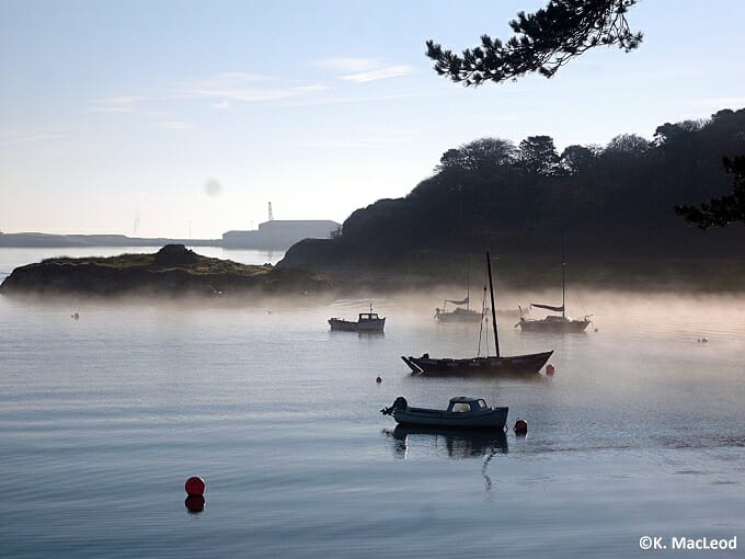 Boats in a misty Stornoway Harbour