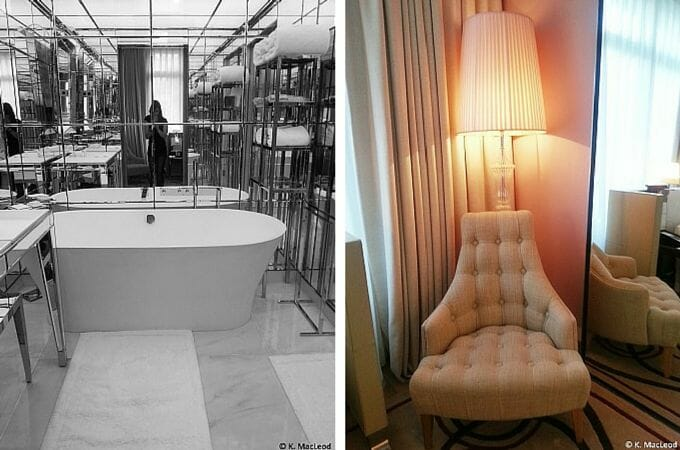 Bathroom and lounge at the Le Royal Monceau suite
