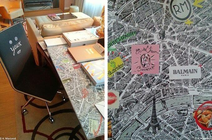 Design desk in the suite at Le Royal Monceau
