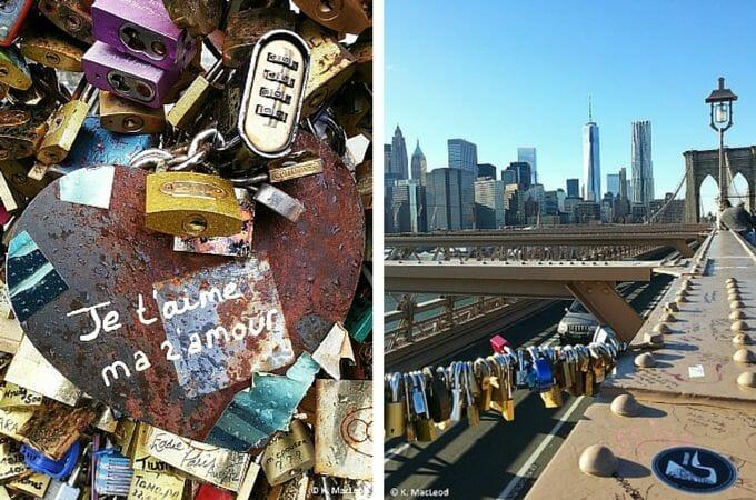 Love locks in Paris and New York City