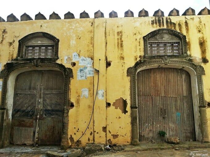 Exploring Mombasa - old port doors.