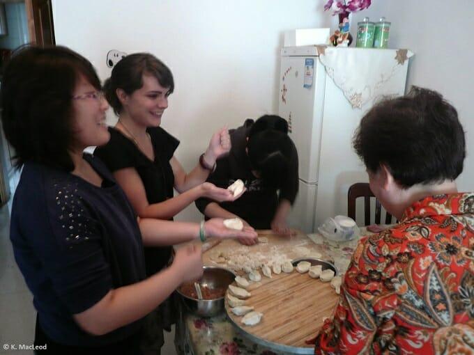 Making dumplings for China's Moon Festival