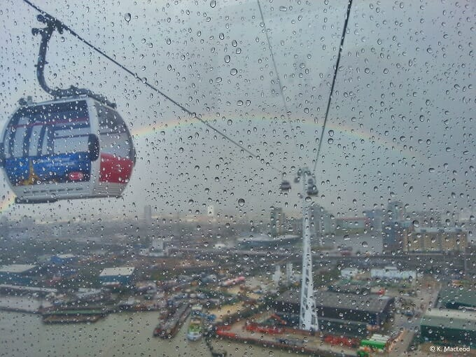 Rainbow over the Thames from Emirates Air Line