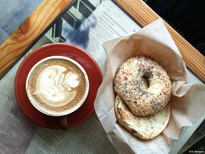 Latte and bagel at Thinking Cup in Boston
