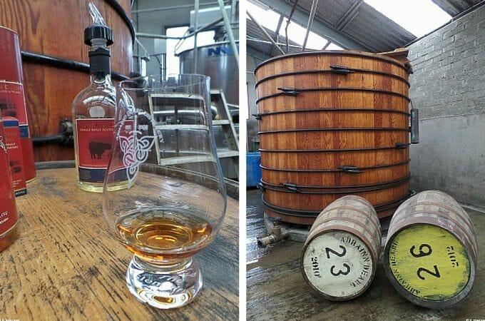 Enjoying a dram of whisky at Abhainn Dearg