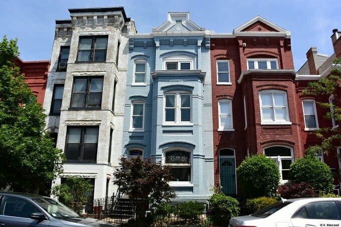 Colourful townhouses in Washington, DC