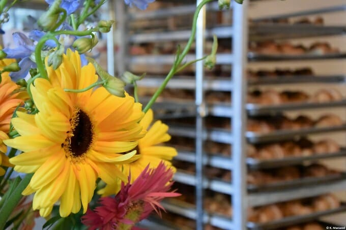 Fresh flowers and pastries at Standard Baking Co