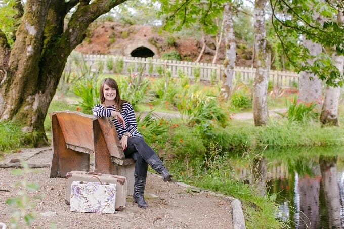 Katie with her suitcase in the Lews Castle Grounds