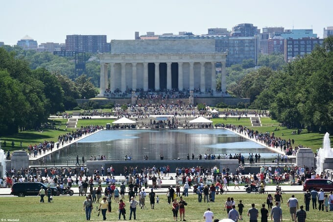Tourists at the Lincoln Memorial