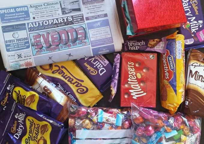 British chocolate and a local newspaper