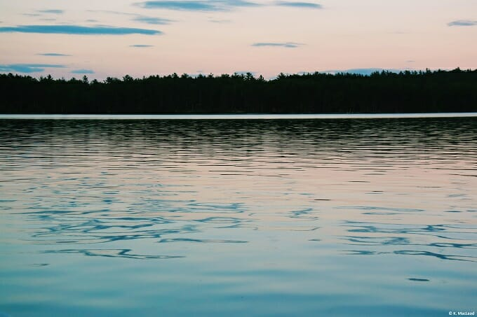 An off-the-grid sunset over Grand Lake Stream, Maine