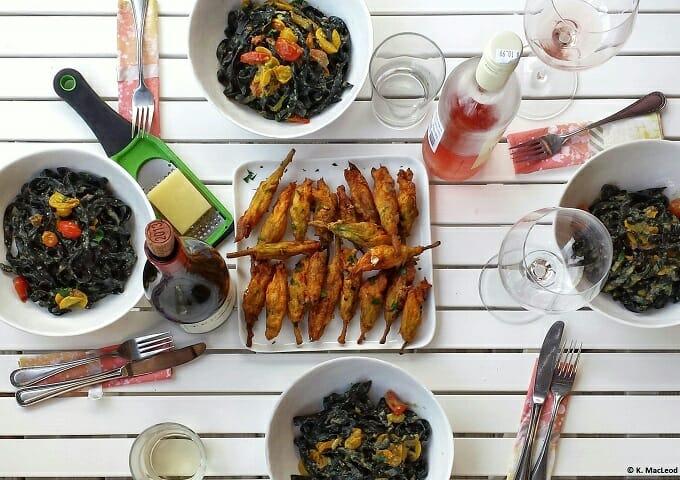 Alfresco summer dinner on a white table
