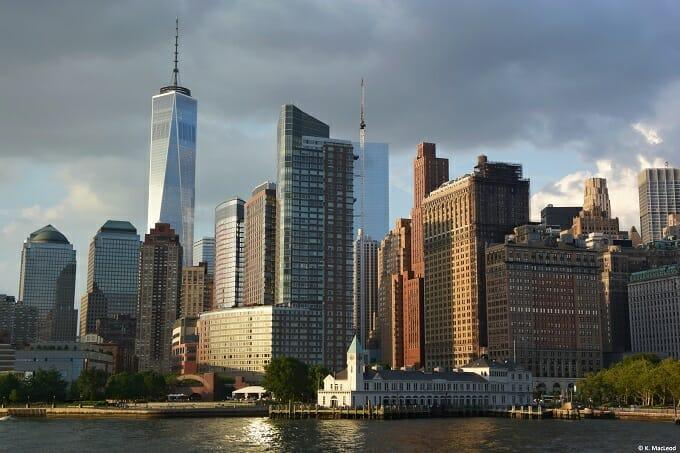 Battery Park and Manhattan skyline at sunset