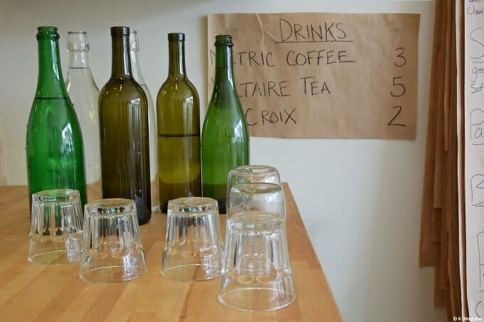 Glass bottles on the counter at Cellar Door Provisions