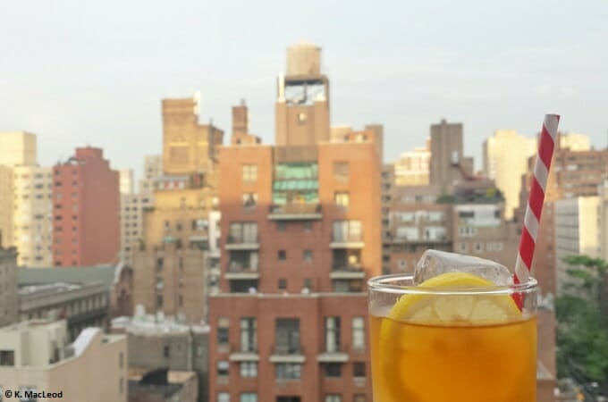 New York skyline from a rooftop bar