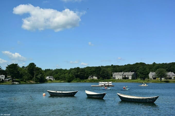 Boats on the river in Kennebunk, Maine