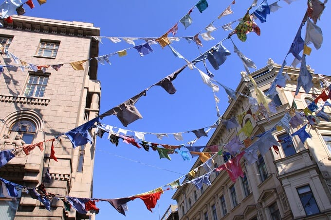 Bunting in the streets of Helsinki