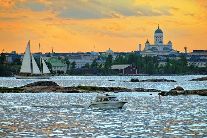 Helsinki harbour at sunset