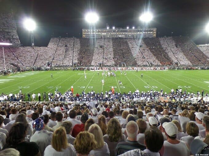 Watching an American football game at Penn State