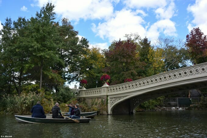Boats by Bow Bridge in Central Park