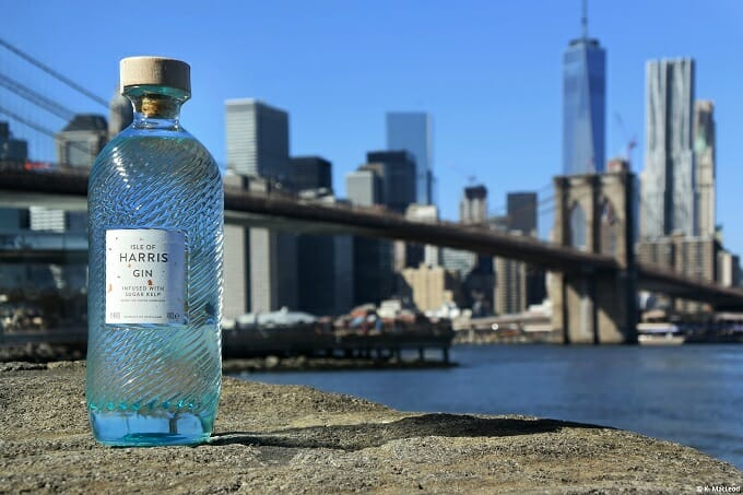 Isle of Harris Gin in front of NYC skyline