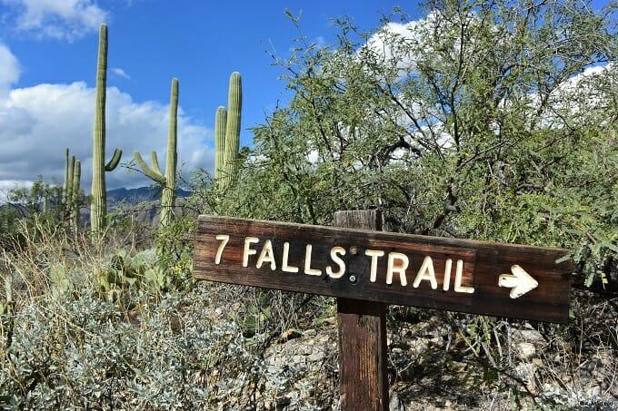 7 Falls Trail Sign Sabino Canyon
