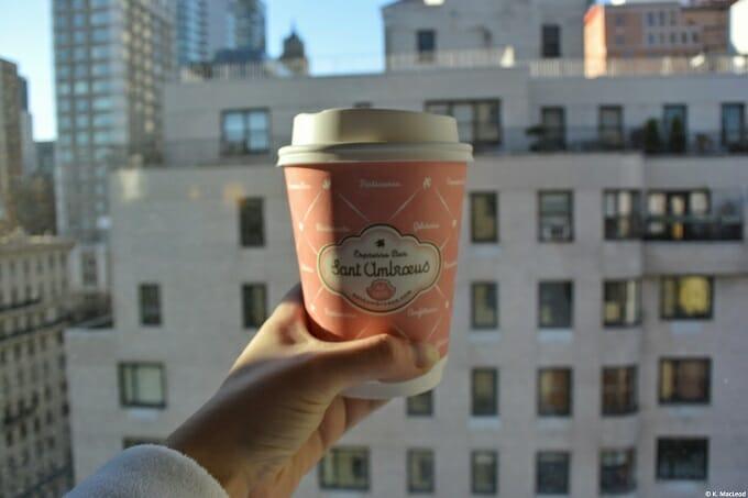 Saint Ambroeus coffee against the skyline at Loews Regency New York