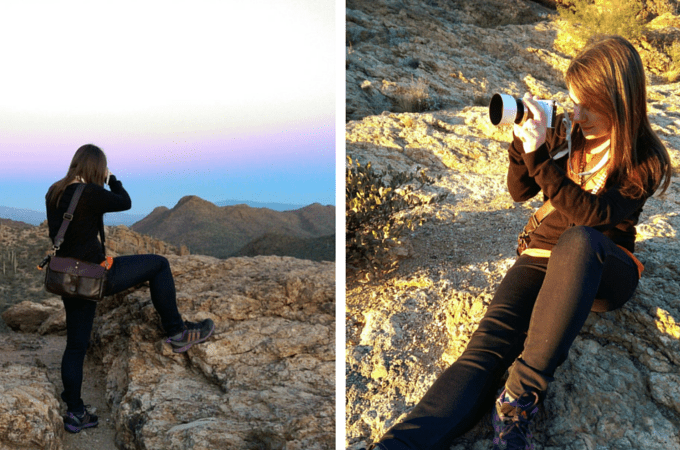 Taking photos hiking in skinny jeans