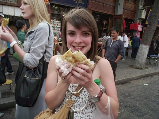 Eating street food in China