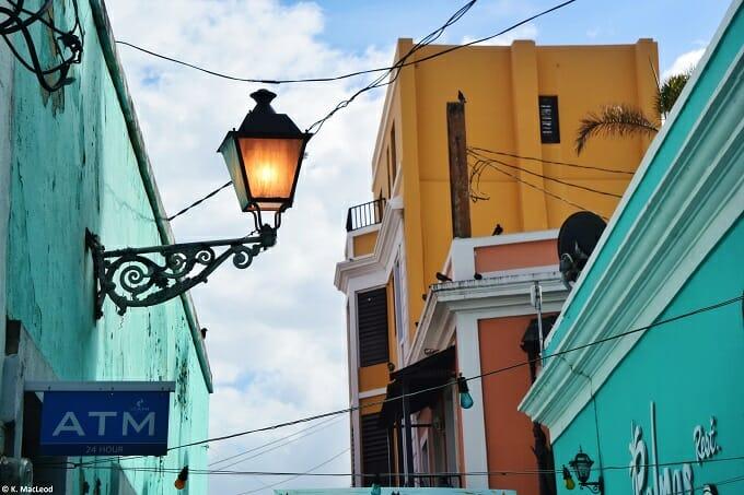 Old San Juan street at dusk