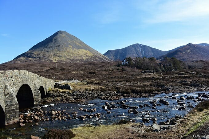 Sligachan Bridge in the sunshine on the Isle of Skye